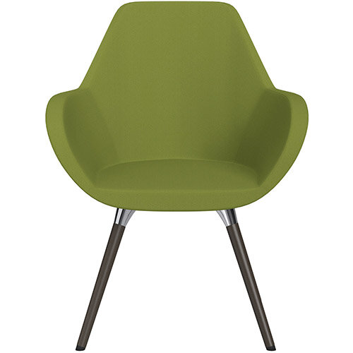 Fan Armchair with Wooden Legs Olive Green Sprint Fabric Seat &Dark Brown H11 Lacquer Base with Universal Teflon Glides - Perfect Seating Solution for Breakout, Reception Areas &Boardroom