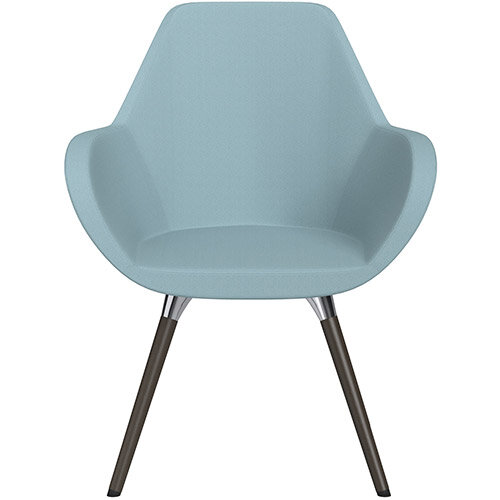 Fan Armchair with Wooden Legs Light Blue Sprint Fabric Seat &Dark Brown H11 Lacquer Base with Universal Teflon Glides  - Perfect Seating Solution for Breakout, Reception Areas &Boardroom