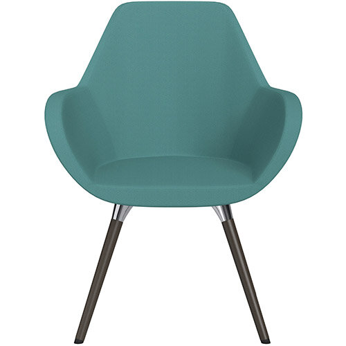 Fan Armchair with Wooden Legs Muddy Aqua Sprint Fabric Seat &Dark Brown H11 Lacquer Base with Universal Teflon Glides  - Perfect Seating Solution for Breakout, Reception Areas &Boardroom