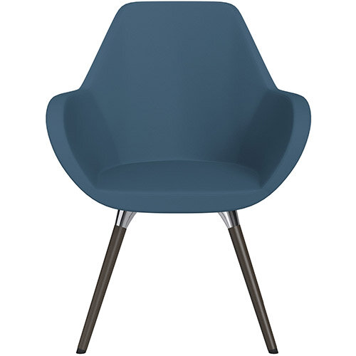 Fan Armchair with Wooden Legs Aqua Blue Valencia Leather Look Seat &Dark Brown H11 Lacquer Base with Universal Teflon Glides  - Perfect Seating Solution for Breakout, Reception Areas &Boardroom