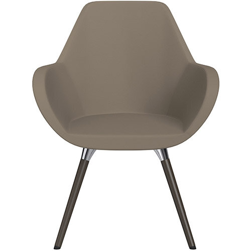 Fan Armchair with Wooden Legs Brown Valencia Leather Look Seat &Dark Brown H11 Lacquer Base with Universal Teflon Glides  - Perfect Seating Solution for Breakout, Reception Areas &Boardroom