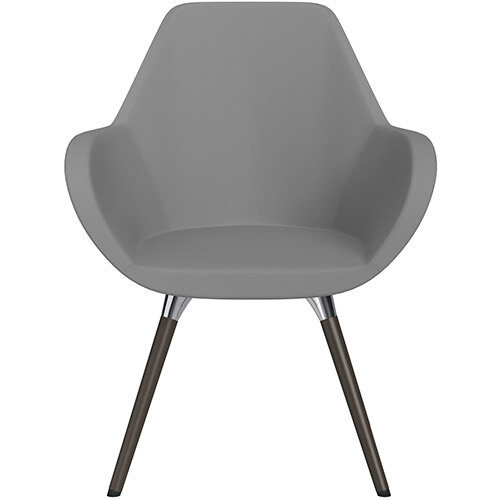 Fan Armchair with Wooden Legs Grey Valencia Leather Look Seat &Dark Brown H11 Lacquer Base with Universal Teflon Glides  - Perfect Seating Solution for Breakout, Reception Areas &Boardroom
