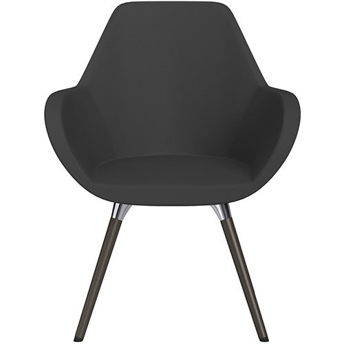 Fan Armchair with Wooden Legs Charcoal Valencia Leather Look Seat &Dark Brown H11 Lacquer Base with Universal Teflon Glides  - Perfect Seating Solution for Breakout, Reception Areas &Boardroom