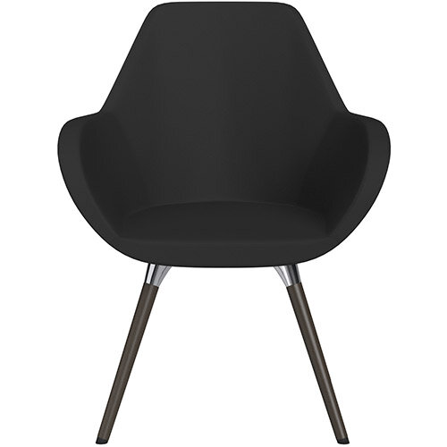 Fan Armchair with Wooden Legs Black Valencia Leather Look Seat &Dark Brown H11 Lacquer Base with Universal Teflon Glides  - Perfect Seating Solution for Breakout, Reception Areas &Boardroom
