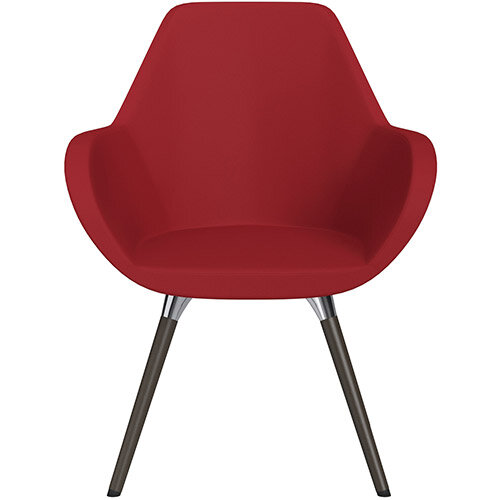 Fan Armchair with Wooden Legs Red Valencia Leather Look Seat &Dark Brown H11 Lacquer Base with Universal Teflon Glides  - Perfect Seating Solution for Breakout, Reception Areas &Boardroom