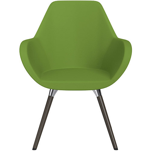 Fan Armchair with Wooden Legs Green Valencia Leather Look Seat &Dark Brown H11 Lacquer Base with Universal Teflon Glides  - Perfect Seating Solution for Breakout, Reception Areas &Boardroom