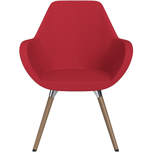 Fan Armchair with Wooden Legs Vivid Red Sprint Fabric Seat &Brown H12 Lacquer Base with Universal Teflon Glides  - Perfect Seating Solution for Breakout, Reception Areas &Boardroom