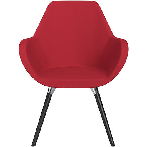 Fan Armchair with Wooden Legs Vivid Red Sprint Fabric Seat &Black H5 Lacquer Base with Universal Teflon Glides  - Perfect Seating Solution for Breakout, Reception Areas &Boardroom