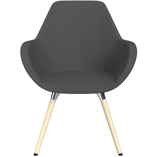 Fan Armchair with Wooden Legs Dark Grey Evo Fabric Seat &Bleached H8 Beech Lacquer Base with Universal Teflon Glides  - Perfect Seating Solution for Breakout, Reception Areas &Boardroom