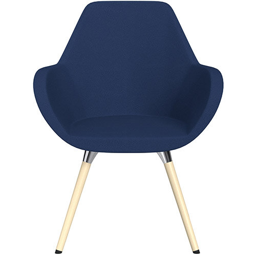 Fan Armchair with Wooden Legs Navy Evo Fabric Seat &Bleached H8 Beech Lacquer Base with Universal Teflon Glides  - Perfect Seating Solution for Breakout, Reception Areas &Boardroom