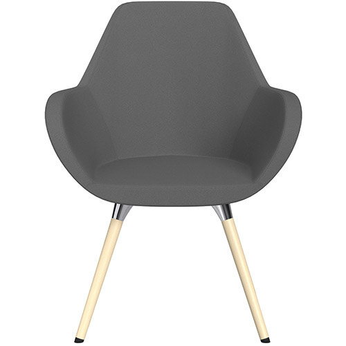 Fan Armchair with Wooden Legs Grey Evo Fabric Seat &Bleached H8 Beech Lacquer Base with Universal Teflon Glides  - Perfect Seating Solution for Breakout, Reception Areas &Boardroom