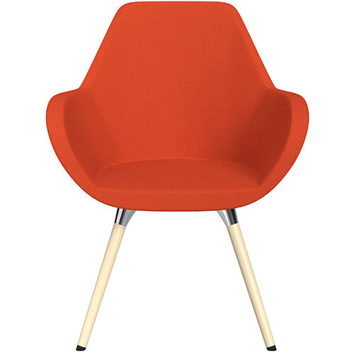 Fan Armchair with Wooden Legs Light Orange Evo Fabric Seat &Bleached H8 Beech Lacquer Base with Universal Teflon Glides  - Perfect Seating Solution for Breakout, Reception Areas &Boardroom
