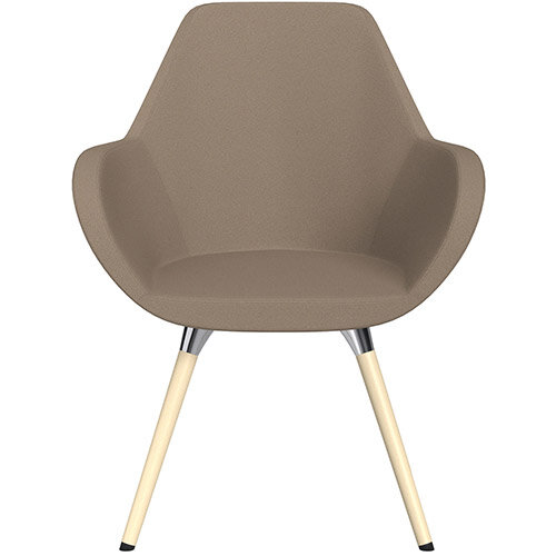 Fan Armchair with Wooden Legs Beige Evo Fabric Seat &Bleached H8 Beech Lacquer Base with Universal Teflon Glides  - Perfect Seating Solution for Breakout, Reception Areas &Boardroom