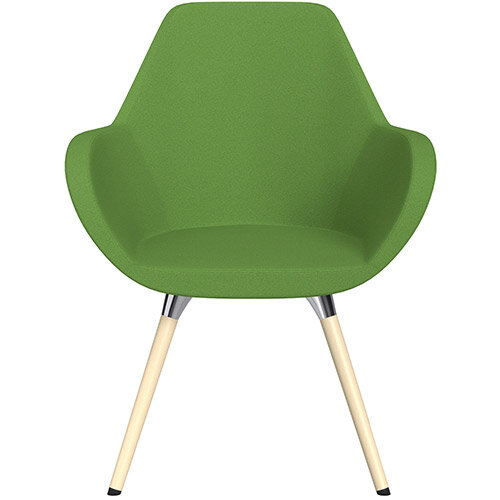 Fan Armchair with Wooden Legs Green Evo Fabric Seat &Bleached H8 Beech Lacquer Base with Universal Teflon Glides  - Perfect Seating Solution for Breakout, Reception Areas &Boardroom