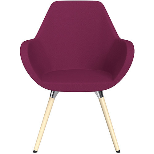 Fan Armchair with Wooden Legs Pink Evo Fabric Seat &Bleached H8 Beech Lacquer Base with Universal Teflon Glides  - Perfect Seating Solution for Breakout, Reception Areas &Boardroom