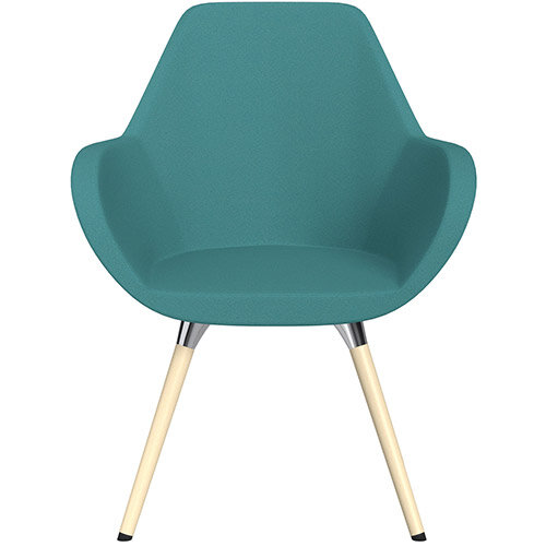 Fan Armchair with Wooden Legs Aqua Green Evo Fabric Seat &Bleached H8 Beech Lacquer Base with Universal Teflon Glides - Perfect Seating Solution for Breakout, Reception Areas &Boardroom