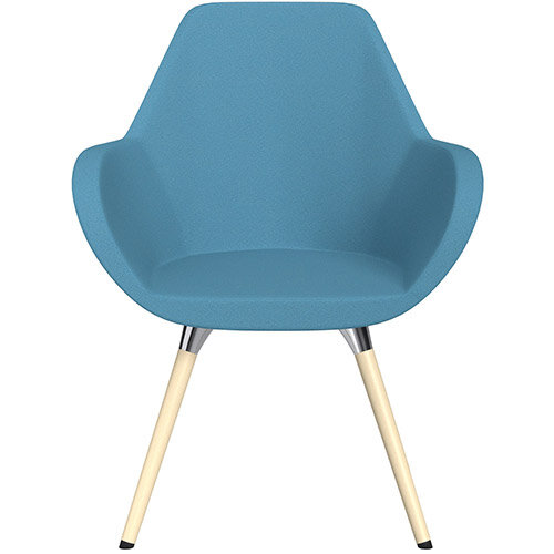 Fan Armchair with Wooden Legs Light Blue Evo Fabric Seat &Bleached H8 Beech Lacquer Base with Universal Teflon Glides  - Perfect Seating Solution for Breakout, Reception Areas &Boardroom