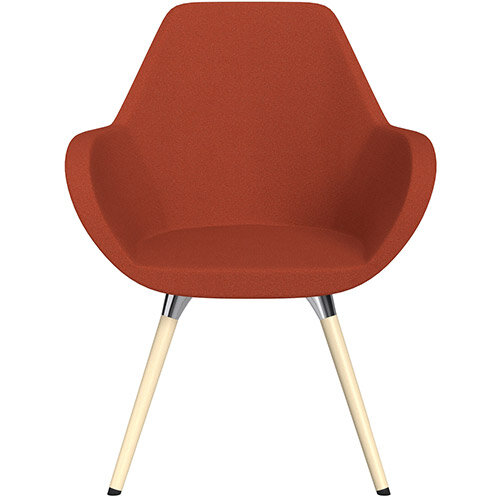 Fan Armchair with Wooden Legs Dark Orange Evo Fabric Seat &Bleached H8 Beech Lacquer Base with Universal Teflon Glides  - Perfect Seating Solution for Breakout, Reception Areas &Boardroom