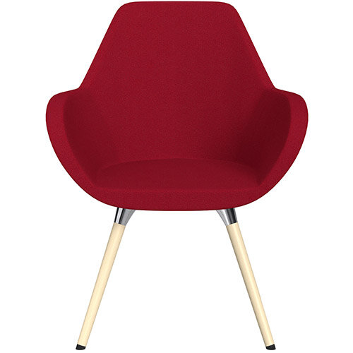Fan Armchair with Wooden Legs Red Evo Fabric Seat &Bleached H8 Beech Lacquer Base with Universal Teflon Glides  - Perfect Seating Solution for Breakout, Reception Areas &Boardroom