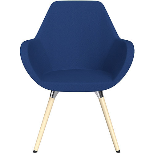 Fan Armchair with Wooden Legs Blue Evo Fabric Seat &Bleached H8 Beech Lacquer Base with Universal Teflon Glides  - Perfect Seating Solution for Breakout, Reception Areas &Boardroom