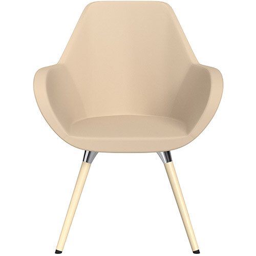 Fan Armchair with Wooden Legs Beige Softline Leather Look Seat &Bleached H8 Beech Lacquer Base with Universal Teflon Glides  - Perfect Seating Solution for Breakout, Reception Areas &Boardroom