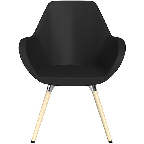 Fan Armchair with Wooden Legs Black Softline Leather Look Seat &Bleached H8 Beech Lacquer Base with Universal Teflon Glides  - Perfect Seating Solution for Breakout, Reception Areas &Boardroom