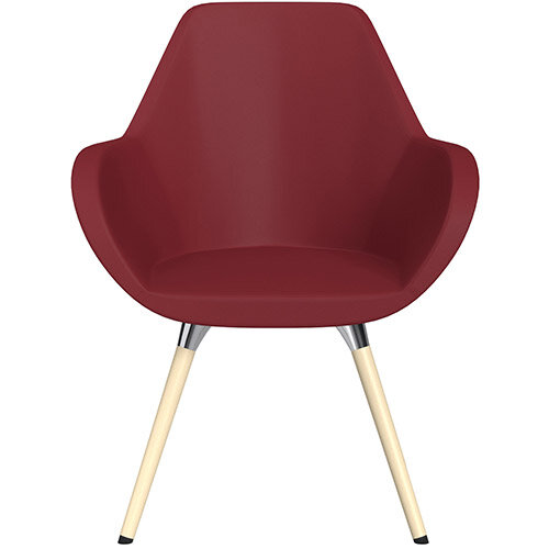 Fan Armchair with Wooden Legs Red Softline Leather Look Seat &Bleached H8 Beech Lacquer Base with Universal Teflon Glides  - Perfect Seating Solution for Breakout, Reception Areas &Boardroom