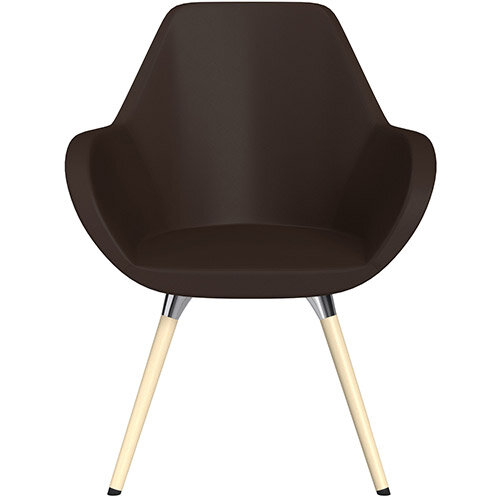 Fan Armchair with Wooden Legs Brown Softline Leather Look Seat &Bleached H8 Beech Lacquer Base with Universal Teflon Glides  - Perfect Seating Solution for Breakout, Reception Areas &Boardroom