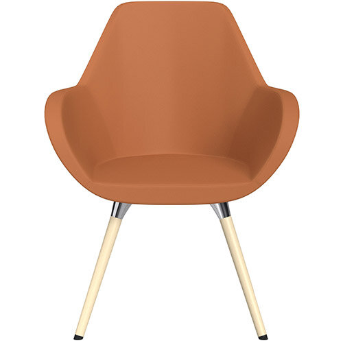 Fan Armchair with Wooden Legs Orange Softline Leather Look Seat &Bleached H8 Beech Lacquer Base with Universal Teflon Glides  - Perfect Seating Solution for Breakout, Reception Areas &Boardroom