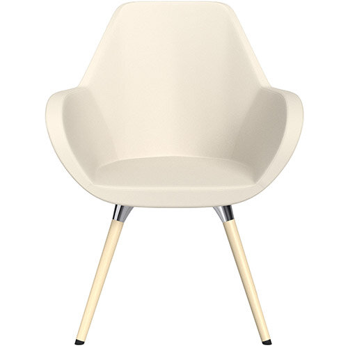 Fan Armchair with Wooden Legs White Softline Leather Look Seat &Bleached H8 Beech Lacquer Base with Universal Teflon Glides  - Perfect Seating Solution for Breakout, Reception Areas &Boardroom