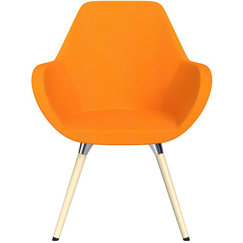 Fan Armchair with Wooden Legs Yellow Sprint Fabric Seat &Bleached H8 Beech Lacquer Base with Universal Teflon Glides  - Perfect Seating Solution for Breakout, Reception Areas &Boardroom