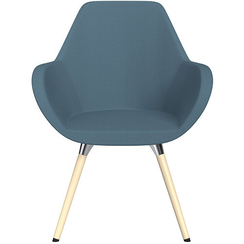 Fan Armchair with Wooden Legs Light Aqua Sprint Fabric Seat &Bleached H8 Beech Lacquer Base with Universal Teflon Glides  - Perfect Seating Solution for Breakout, Reception Areas &Boardroom