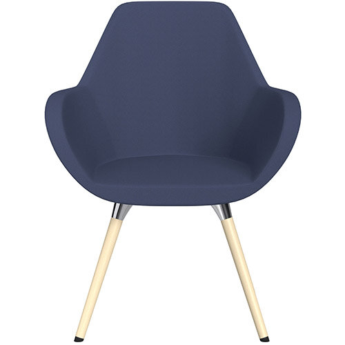 Fan Armchair with Wooden Legs Light Purple Sprint Fabric Seat &Bleached H8 Beech Lacquer Base with Universal Teflon Glides  - Perfect Seating Solution for Breakout, Reception Areas &Boardroom