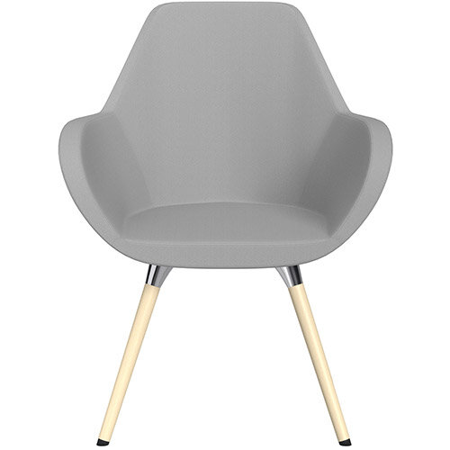Fan Armchair with Wooden Legs Light Grey Sprint Fabric Seat &Bleached H8 Beech Lacquer Base with Universal Teflon Glides  - Perfect Seating Solution for Breakout, Reception Areas &Boardroom