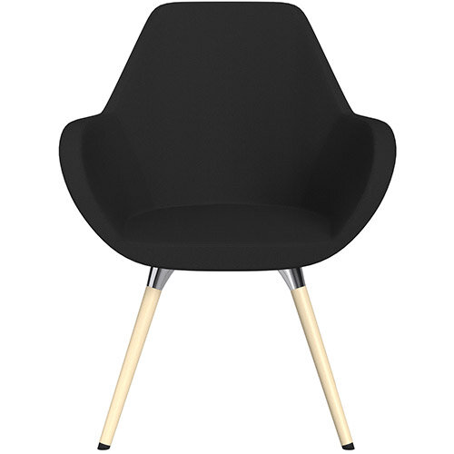 Fan Armchair with Wooden Legs Black Sprint Fabric Seat &Bleached H8 Beech Lacquer Base with Universal Teflon Glides  - Perfect Seating Solution for Breakout, Reception Areas &Boardroom