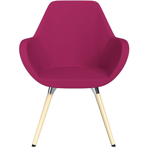 Fan Armchair with Wooden Legs Pink Sprint Fabric Seat &Bleached H8 Beech Lacquer Base with Universal Teflon Glides  - Perfect Seating Solution for Breakout, Reception Areas &Boardroom