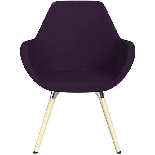 Fan Armchair with Wooden Legs Plum Purple Sprint Fabric Seat &Bleached H8 Beech Lacquer Base with Universal Teflon Glides  - Perfect Seating Solution for Breakout, Reception Areas &Boardroom
