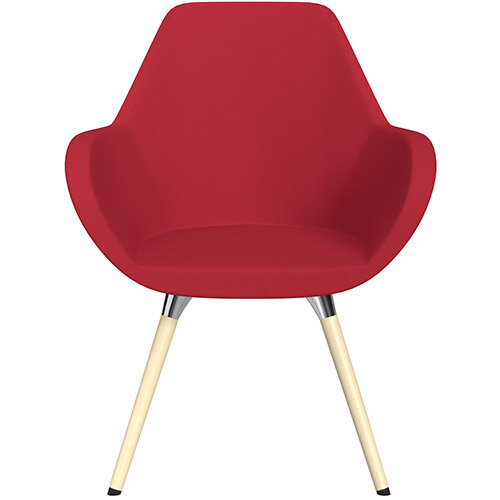 Fan Armchair with Wooden Legs Vivid Red Sprint Fabric Seat &Bleached H8 Beech Lacquer Base with Universal Teflon Glides  - Perfect Seating Solution for Breakout, Reception Areas &Boardroom