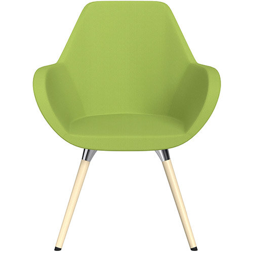 Fan Armchair with Wooden Legs Light Green Sprint Fabric Seat &Bleached H8 Beech Lacquer Base with Universal Teflon Glides  - Perfect Seating Solution for Breakout, Reception Areas &Boardroom