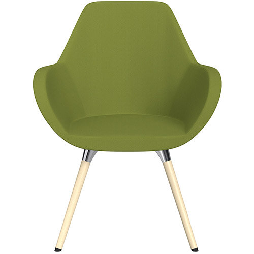 Fan Armchair with Wooden Legs Olive Green Sprint Fabric Seat &Bleached H8 Beech Lacquer Base with Universal Teflon Glides - Perfect Seating Solution for Breakout, Reception Areas &Boardroom