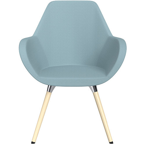 Fan Armchair with Wooden Legs Light Blue Sprint Fabric Seat &Bleached H8 Beech Lacquer Base with Universal Teflon Glides  - Perfect Seating Solution for Breakout, Reception Areas &Boardroom