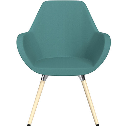 Fan Armchair with Wooden Legs Muddy Aqua Sprint Fabric Seat &Bleached H8 Beech Lacquer Base with Universal Teflon Glides  - Perfect Seating Solution for Breakout, Reception Areas &Boardroom
