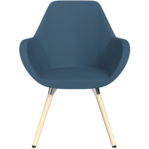 Fan Armchair with Wooden Legs Aqua Blue Valencia Leather Look Seat &Bleached H8 Beech Lacquer Base with Universal Teflon Glides  - Perfect Seating Solution for Breakout, Reception Areas &Boardroom