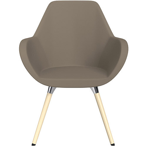 Fan Armchair with Wooden Legs Brown Valencia Leather Look Seat &Bleached H8 Beech Lacquer Base with Universal Teflon Glides  - Perfect Seating Solution for Breakout, Reception Areas &Boardroom