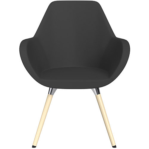 Fan Armchair with Wooden Legs Charcoal Valencia Leather Look Seat &Bleached H8 Beech Lacquer Base with Universal Teflon Glides  - Perfect Seating Solution for Breakout, Reception Areas &Boardroom