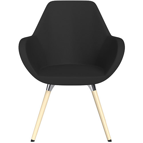 Fan Armchair with Wooden Legs Black Valencia Leather Look Seat &Bleached H8 Beech Lacquer Base with Universal Teflon Glides  - Perfect Seating Solution for Breakout, Reception Areas &Boardroom