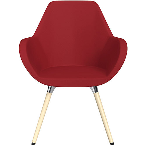 Fan Armchair with Wooden Legs Red Valencia Leather Look Seat &Bleached H8 Beech Lacquer Base with Universal Teflon Glides  - Perfect Seating Solution for Breakout, Reception Areas &Boardroom
