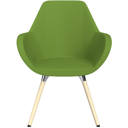 Fan Armchair with Wooden Legs Green Valencia Leather Look Seat &Bleached H8 Beech Lacquer Base with Universal Teflon Glides  - Perfect Seating Solution for Breakout, Reception Areas &Boardroom