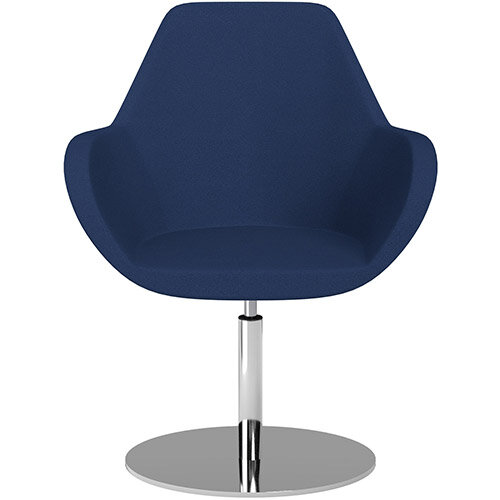 Fan Swivel Round Base Armchair Navy Evo Fabric Seat &Chrome Base - Perfect Seating Solution for Breakout, Reception Areas &Boardroom