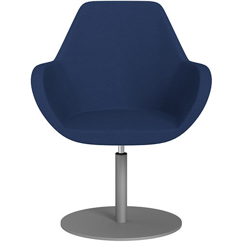Fan Swivel Round Base Armchair Navy Evo Fabric Seat &Metallic Silver Base - Perfect Seating Solution for Breakout, Reception Areas &Boardroom